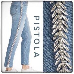 PISTOLA Nico Mom High-rise Embellished Jeans